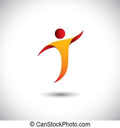 Icon por actividad como baile, giro, vuelo - vector de concepto gráfico. Esta ilustración también representa a personas bailando, yoga, aeróbicos, acrobacias, gimnasia, deportes, etc