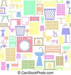 icon., seamless, plano de fondo, muebles, patrón