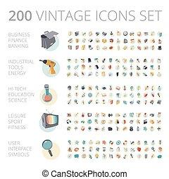 Icones antiguos establecidos para negocios y tecnología.