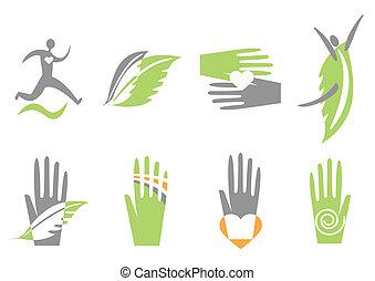 Icones con mano, corazón y humano. Vector