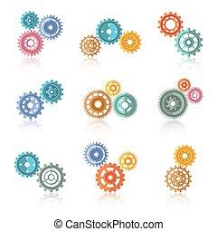 Icones de colores conectados