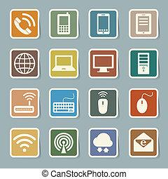 Icones de dispositivos móviles, computadoras y conexiones de red.