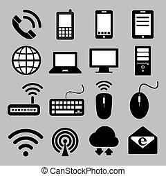 Icones de dispositivos móviles, conexiones de ordenador y red, eps 10