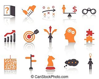 Icones de estrategia de negocios naranja establecidos