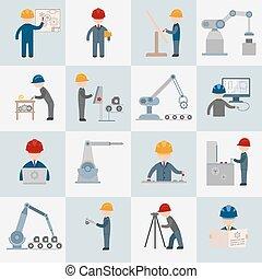 Icones de ingeniería planas