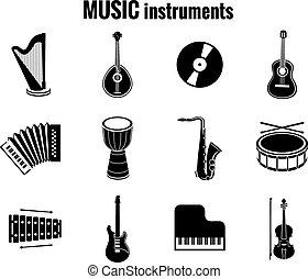 Icones de instrumentos negros en fondo blanco