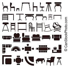 Icones de muebles de color marrón. Una ilustración del vector
