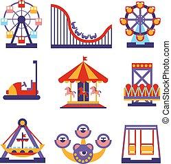 Icones del parque de atracciones de diseño de vectores planos