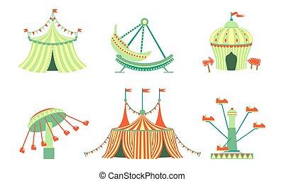 Icones del parque de diversiones, carnaval, diversiones del festival ilustraciones vectoriales