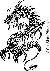 Iconic Dragon vector de tatuajes tribales