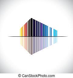 Icono abstracto colorido de una arquitectura de construcción comercial - vector gráfico. Esta ilustración de una estructura de oficina moderna está en colores como rojo, naranja, negro, azul, etc
