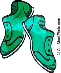 icono, acuarela, shoes, estilo