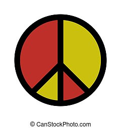 icono, aislado, blanco, símbolo de paz, vector