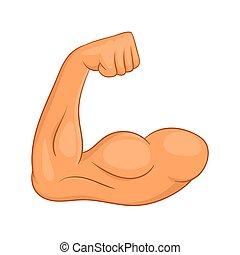 icono, bíceps, manos, estilo, caricatura