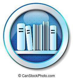 icono, biblioteca, libro electrónico