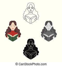 icono bibliotecario en dibujos animados, estilo negro aislado en fondo blanco. La biblioteca y la librería simbolizan ilustración de vectores.