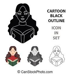 icono bibliotecario en estilo de dibujos animados aislado en el fondo blanco. La biblioteca y la librería simbolizan ilustración de vectores.