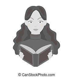 icono bibliotecario en estilo monocromo aislado en el fondo blanco. La biblioteca y la librería simbolizan ilustración de vectores.