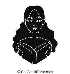 icono bibliotecario en estilo negro aislado en el fondo blanco. La biblioteca y la librería simbolizan ilustración de vectores.