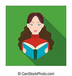 icono bibliotecario en estilo plano aislado en el fondo blanco. La biblioteca y la librería simbolizan ilustración de vectores.