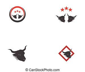 icono, cabeza, toro, logotipo, vector
