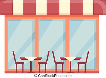 icono, café, silla, café, calle, caricatura, vector., tienda