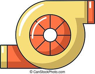 Icono cargador de turbo, estilo de dibujos animados