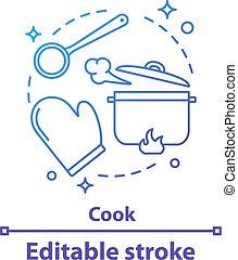 icono, concepto, cocina, proceso