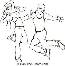 icono, conjunto, baile, cadera-salto, gente
