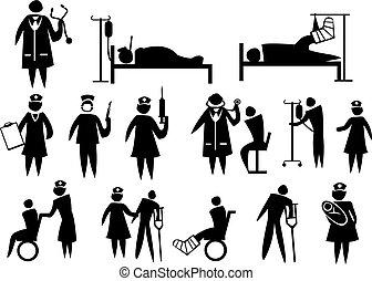 icono, conjunto, médico, atención sanitaria