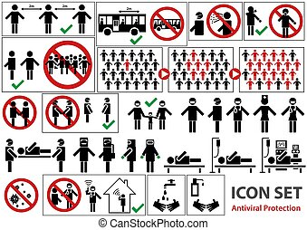 icono, conjunto, pandemia