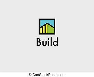 icono, construcción, creativo, logotipo, lineal, compañía, edificio