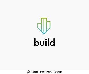 icono, construcción, logotipo, lineal, compañía, verde, edificio