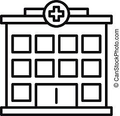 icono, contorno, hospital, edificio, estilo