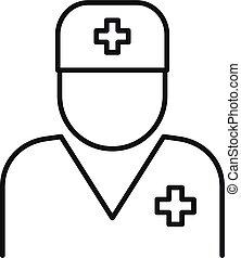 icono, contorno, hospital, estilo, doctor