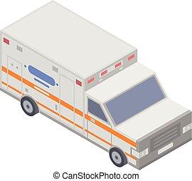 Icono de ambulancia moderno, estilo isometrico