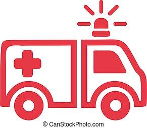 Icono de ambulancia roja