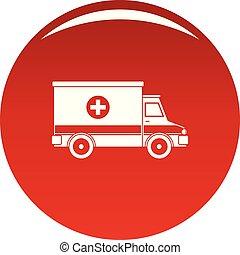Icono de ambulancia vector rojo