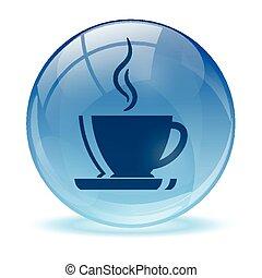 icono de café abstracto azul