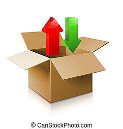 icono de caja de cartón abierto. Modelo 3D de caja.