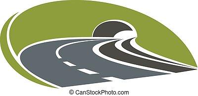 Icono de carretera con túnel