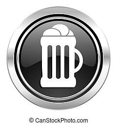 icono de cerveza, botón de cromo negro, signo de taza