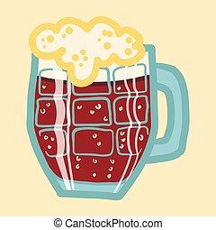 icono de cerveza negra, estilo dibujado a mano