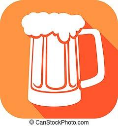 icono de cerveza plana