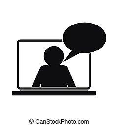 Icono de chat en línea, estilo simple