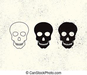 icono de cráneo. Una estructura ósea que forma la cabeza. El símbolo de la muerte. Ilustración de vectores