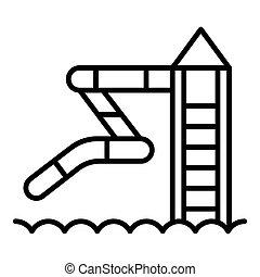 Icono de deslizamiento Aquapark, estilo esbozo