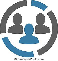Icono de diagrama de demografía del set de bicolor de negocios