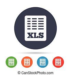Icono de documentos Excel. Descarga el botón XI.