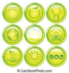 icono de ecología. Botones ecológicos verdes. Vector